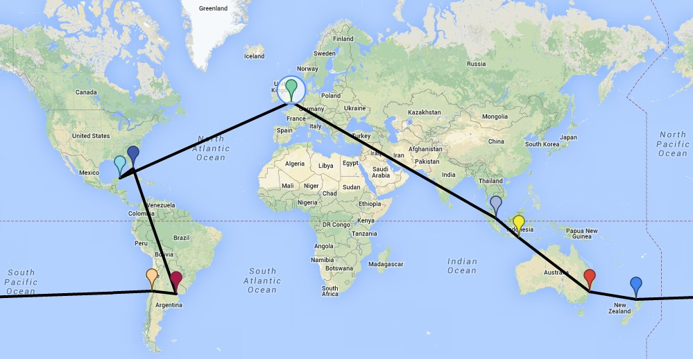 Travel map mehmet travels around the world 1 london 2 cancun havana and back 3 miami 4 buenos aires 5 santiago 6 auckland 7 sydney 8 bali 9 singapore 10 london gumiabroncs Gallery